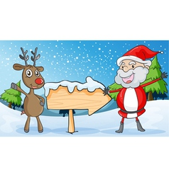 reindeer and santaclause vector image vector image