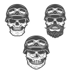 set of racer skulls isolated on white background vector image vector image