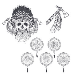 Set of templates for a tattoo with a human vector