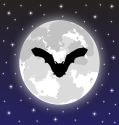 Silhouette bat on background of the full moon vector