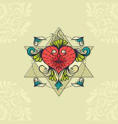 sketch of tattoo henna heart vector image