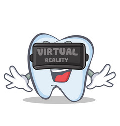 Tooth character cartoon style with virtual reality vector