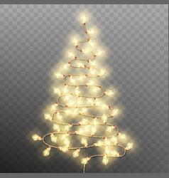 tree formed garland lights on transparent vector image