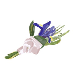 Wedding boutonniere with blue iris vector