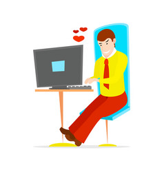 Young handsome businessman is sitting vector