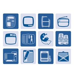 One tone media icons vector