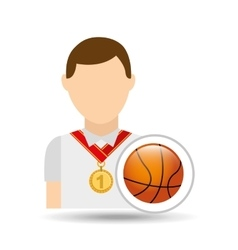 Athlete medal baskette ball icon graphic vector