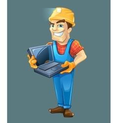 Builder with laptop helmet isolated on dark vector
