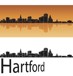 Hartford skyline in orange background vector image