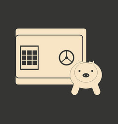 flat in black and white piggy bank and safe vector image