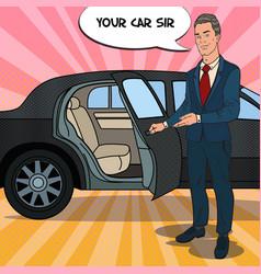 Driver waiting ner black limousine pop art vector