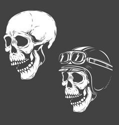Set of racer skulls isolated on white background vector