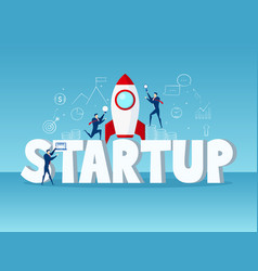 big word startup concept businessman startup with vector image