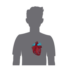 heart on the silhouette of a man vector image