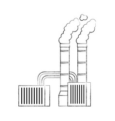 Pollution from factory smoking industrial concept vector