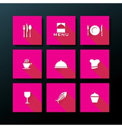 Flat restaurant icon set vector