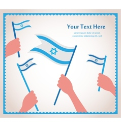 Happy israeli independence day hand holding a flag vector