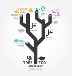 Infographics tree design diagram line style templa vector