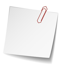 White note paper with paperclip vector