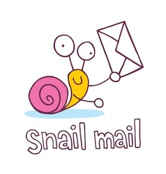 Snail mail cartoon character vector