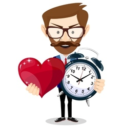 Young man showing a time of love vector image