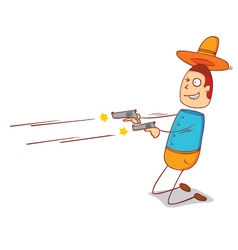 Shooting cowboy vector