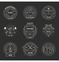 Blacksmith and forging logo or emblem vintage vector