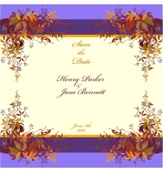 Wedding frame autumn wild grape background vector