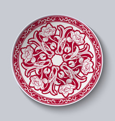 Circular unusual red floral pattern stylized vector