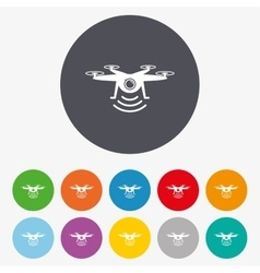 Drone icon Quadrocopter with action camera vector image
