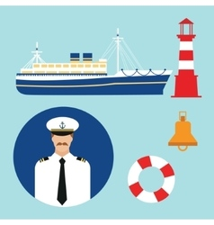 Cruise ship captain boat sailor icon set vector