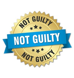 Not guilty 3d gold badge with blue ribbon vector