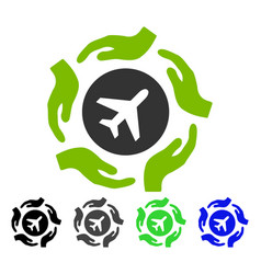 Aircraft care hands flat icon vector