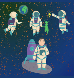 Astronauts in space working character and vector