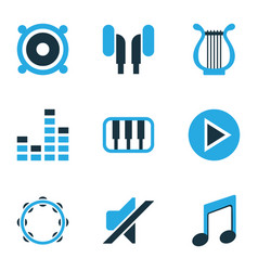Audio colored icons set collection of mute piano vector