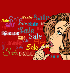 beautiful woman in sales background vector image vector image