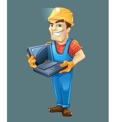 Builder with laptop helmet isolated on dark vector