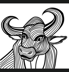 Bull head animal for t-shirt vector