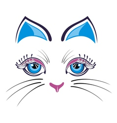 Cat with blue ears vector image vector image