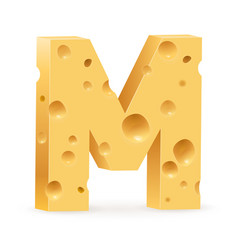 Cheese font m letter on white vector