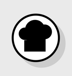 Chef cap sign flat black icon in white vector
