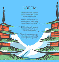 Chureito pagoda and mountin poster vector
