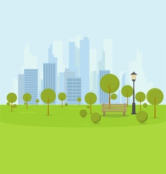 City park with bench vector image