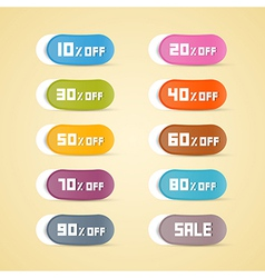 Colorful discount stickers labels vector