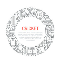 Cricket banner with line icons of ball bat field vector