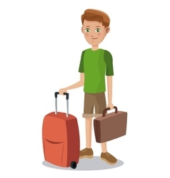 Cute boy tourist eyes with suitcase baggage vector