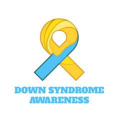 Down syndrome awareness papercut ribbon vector
