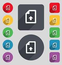 Export upload file icon sign a set of 12 colored vector