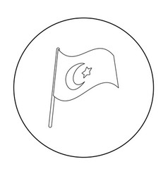 flag of turkey icon in outline style isolated on vector image vector image