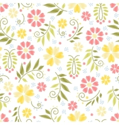 Flower embroidery seamless pattern vector